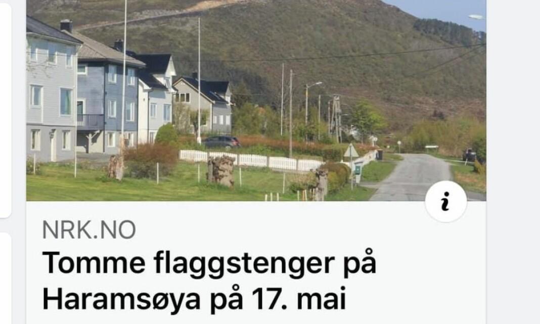 Hevdet at lokalbefolkningen ikke flagget på grunn av vindkraft. Nå har NRK fjernet flere bilder fra saken
