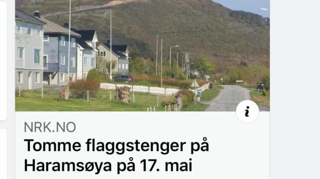 Stenger uten flagg ble bemerket på NRK.no.