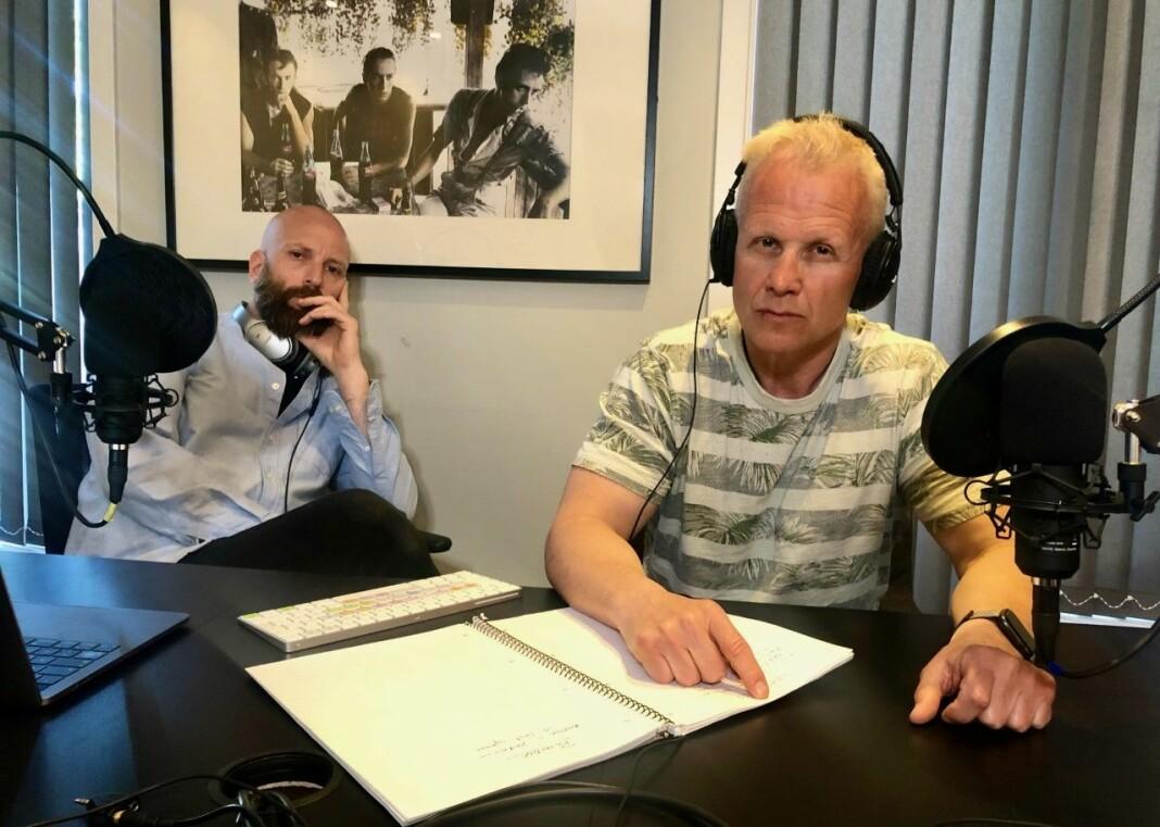 Stein Morten Lier (t.h.) og Helge Moldver står bak podkasten Avhørt.