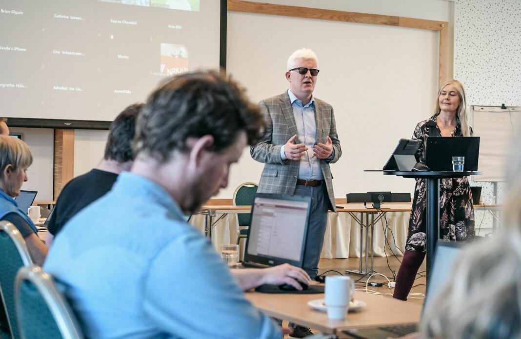 NJ-leder Dag Idar Tryggestad og nestleder Hege Fagerheim på landsstyremøtet i Stavanger.