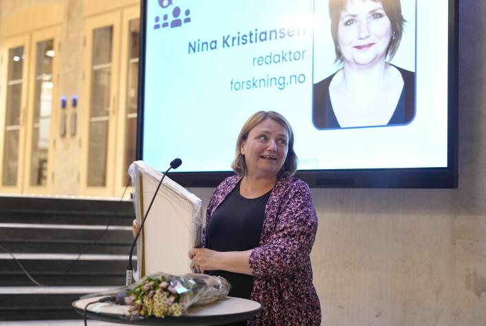 Nina Kristiansen, ansvarlig redaktør i forskning.no, vegrer seg ikke for å refse forskere for feighet, påpeker juryen.