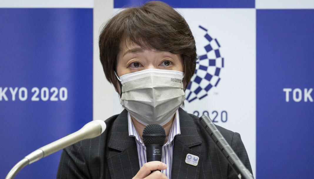 OL-president Seiko Hashimoto på en pressekonferanse 11. juni.