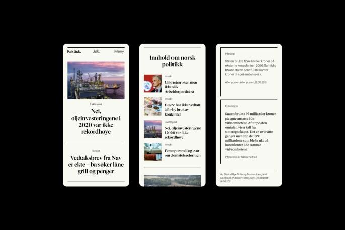Slik vil mobilversjonen til den nye nettsiden se ut.