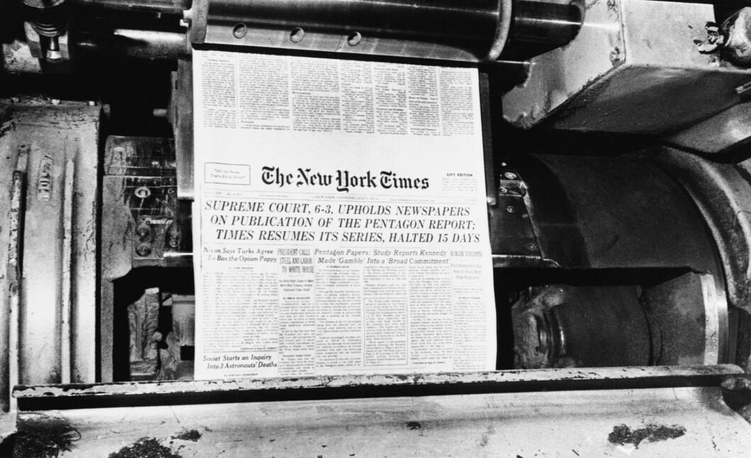 Forsiden til New York Times etter at avisen vant fram i Høyesterett og kunne fortsette publiseringen av «Pentagon Papers».