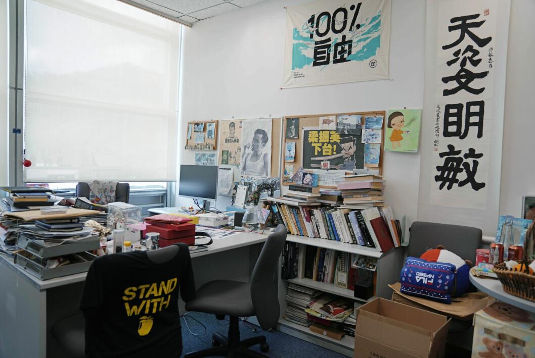 Kontoret til en av lederne i avisen Apple Daily står tomt.