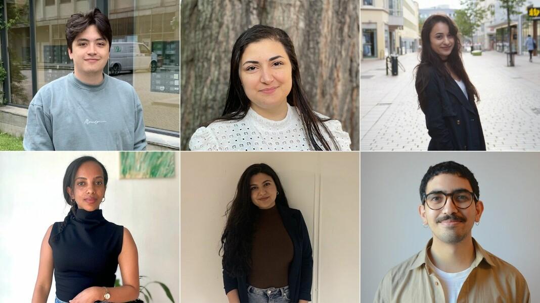Årets FleRe-kull i NRK: (øverst f.v.) Jan Sarzuelo Dydland, Nareen Mizoory og Balsharan Kaur, (nederst f.v.) Tsion Bruk, Roza Bawan og Jonathan Al-Saqqa.