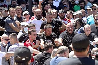 Det oppsto uro da Pride-motstandere barket sammen med politiet i Georgias hovedstad Tbilisi forrige mandag.
