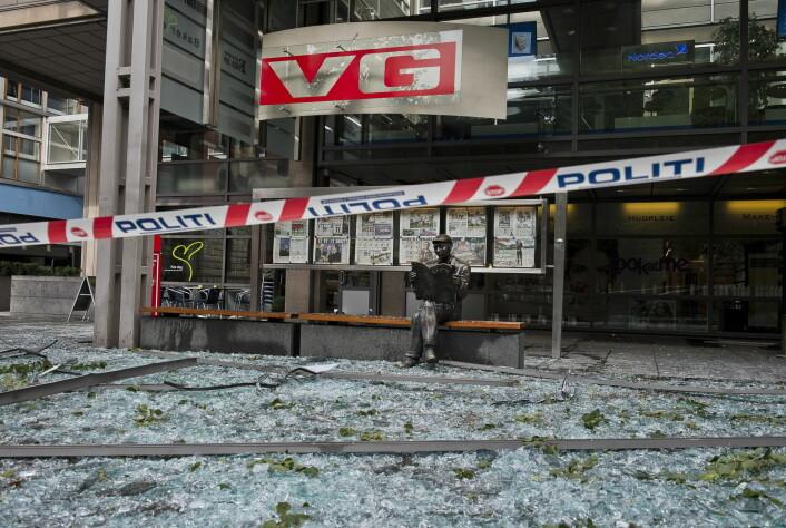 Redaksjonslokalene til VG ble hardt rammet da bomben gikk av i Regjeringskvartalet.