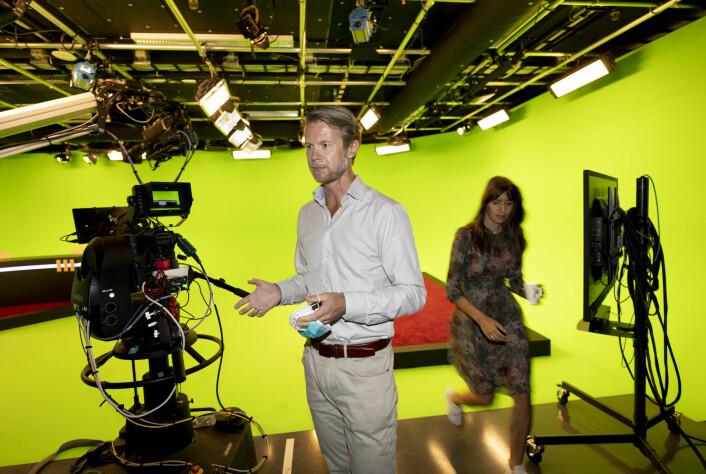 Sportsdirektør Morten Johannessen i Discovery i TV-studioet i Nydalen.