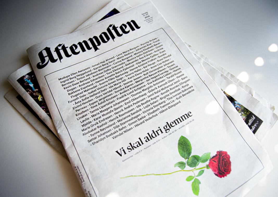 Aftenpostens forside ti år etter 22. juli-angrepet. Aftenposten har dekt tiårsmarkering bredt og blant annet publisert 17 relevante kronikker.