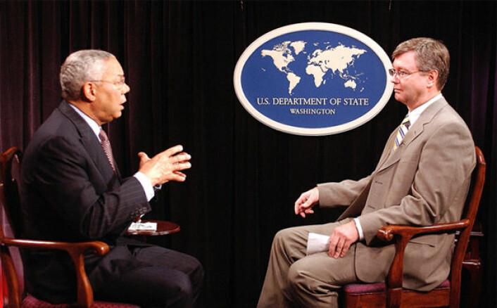Jan Espen Kruse intervjuer USAs utenriksminister Colin Powell i 2004.