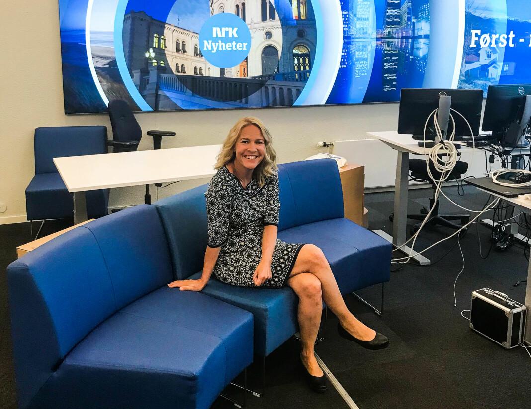 Gry Blekastad Almaas i redaksjonslokalene til NRK Nyheter. Til høsten er hun på plass i London.