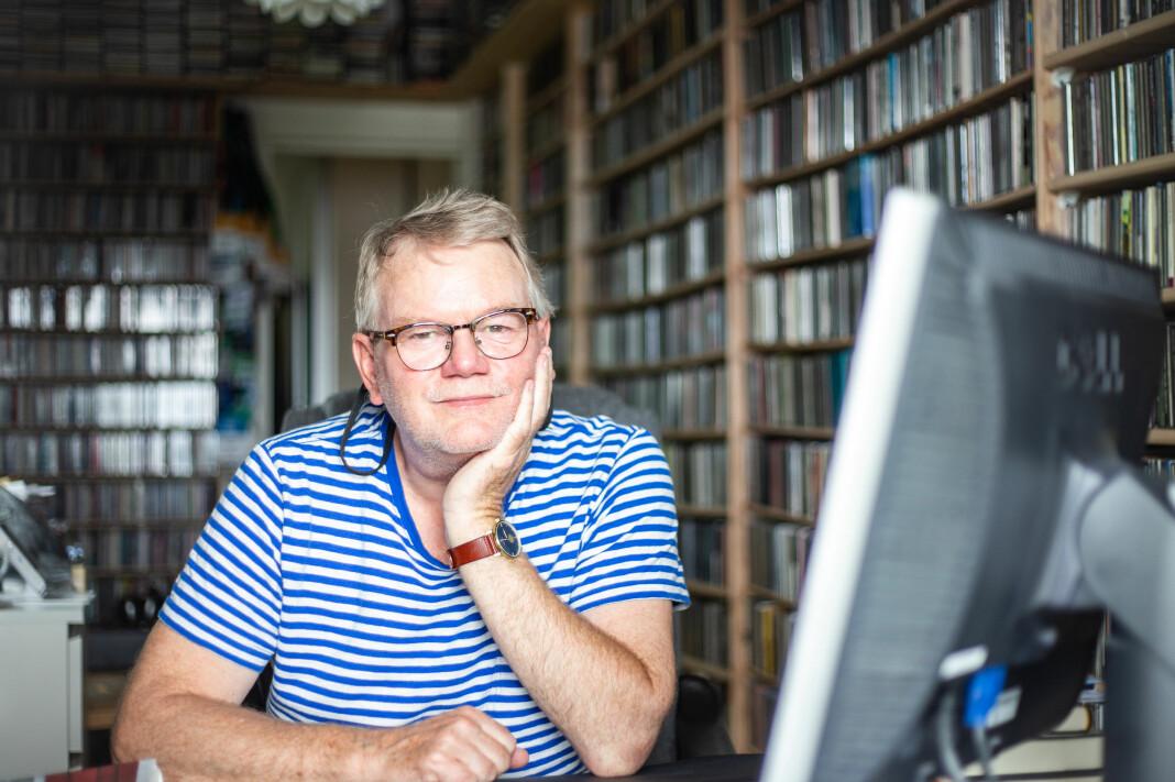 Musikkanmelderen Tor Hammerø i sitt hjem på Nordstrand. Her har han rundt 13.000 CD-plater.