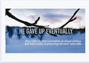 Forsiden på Vikanders masteroppgave «He gave up eventually (but I didn't)». Det finnes ellers ingen forskning på trakassering blant samiske kvinner i mediene.