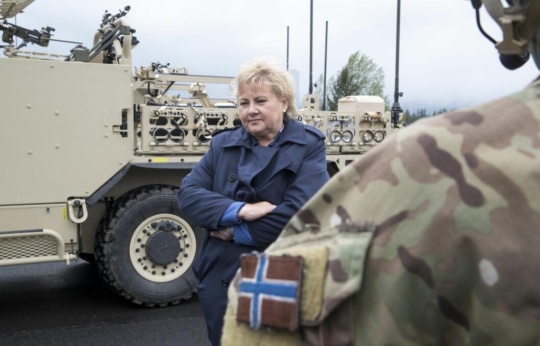 Statsminister Erna Solberg fotografert på Rena leir i 2019.