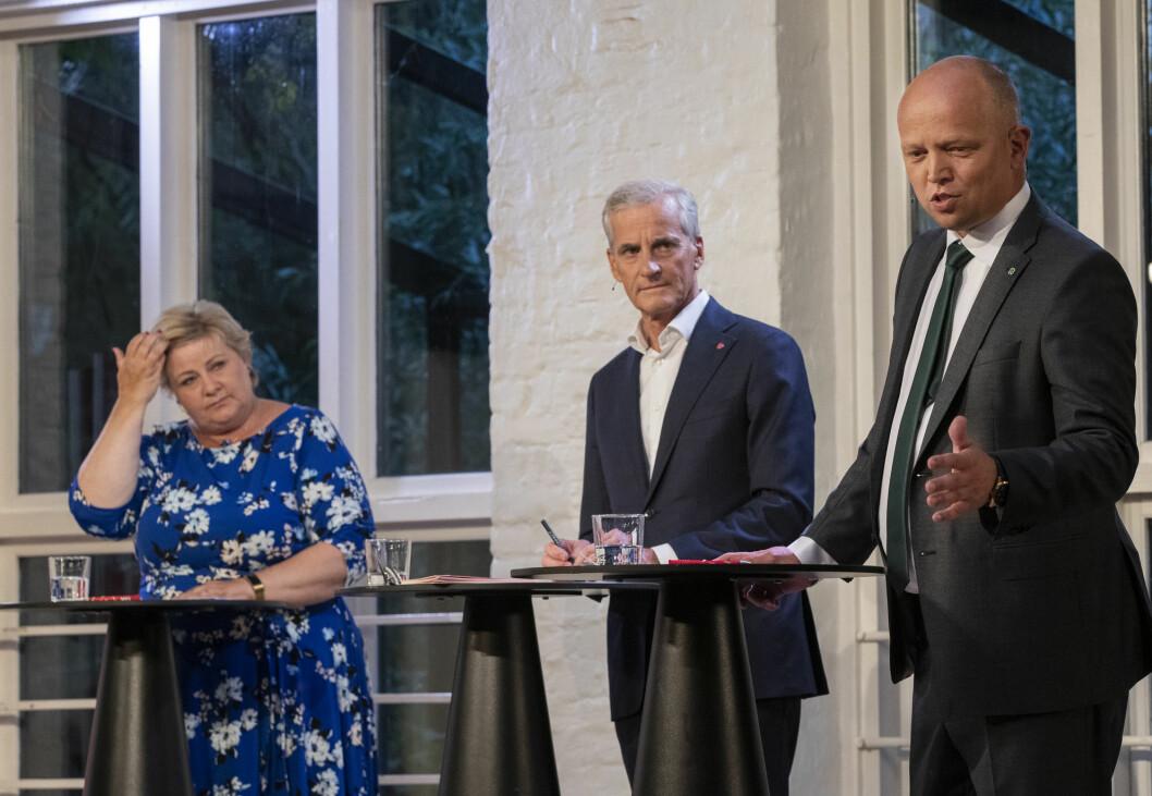 2 mot 1 er litt urettferdig, sa statsminister Erna Solberg (H) etter statsministerdebatten på VGTV med Sp-leder Trygve Slagsvold Vedum (f.h.) og Ap-leder Jonas Gahr Støre.