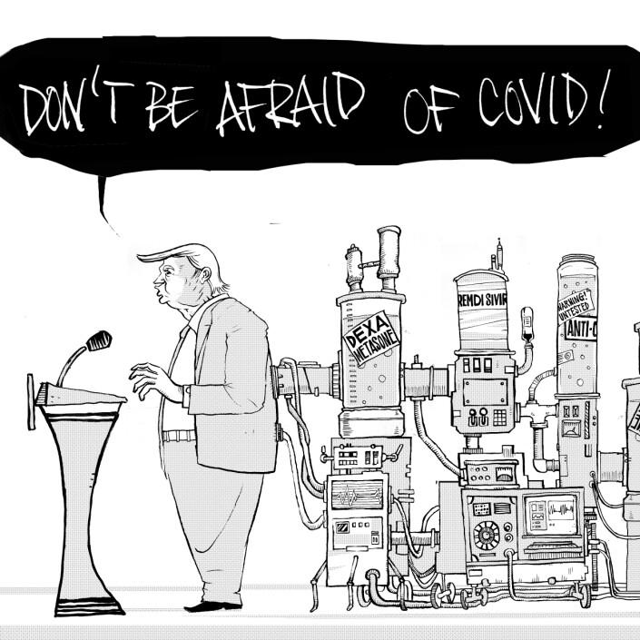 Donald Trump på pressekonferansen da han kom ut av sykehuset etter å ha blitt behandlet for covid-viruset. – Tegningen illustrer Trump på talerstolen. Han er koblet til et enormt apparat med medisindoser mens han uttaler at korona er ingenting å bekymre seg for, sier illustratøren Pål Nordseth.