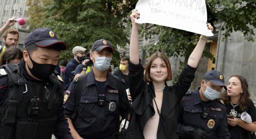 Minst åtte journalister pågrepet i Moskva