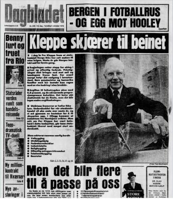 inansminister Per Kleppe skjærer til beinet for å illustrere statsbudsjettet høsten 1978. Alt for Dagbladet. Klikk!