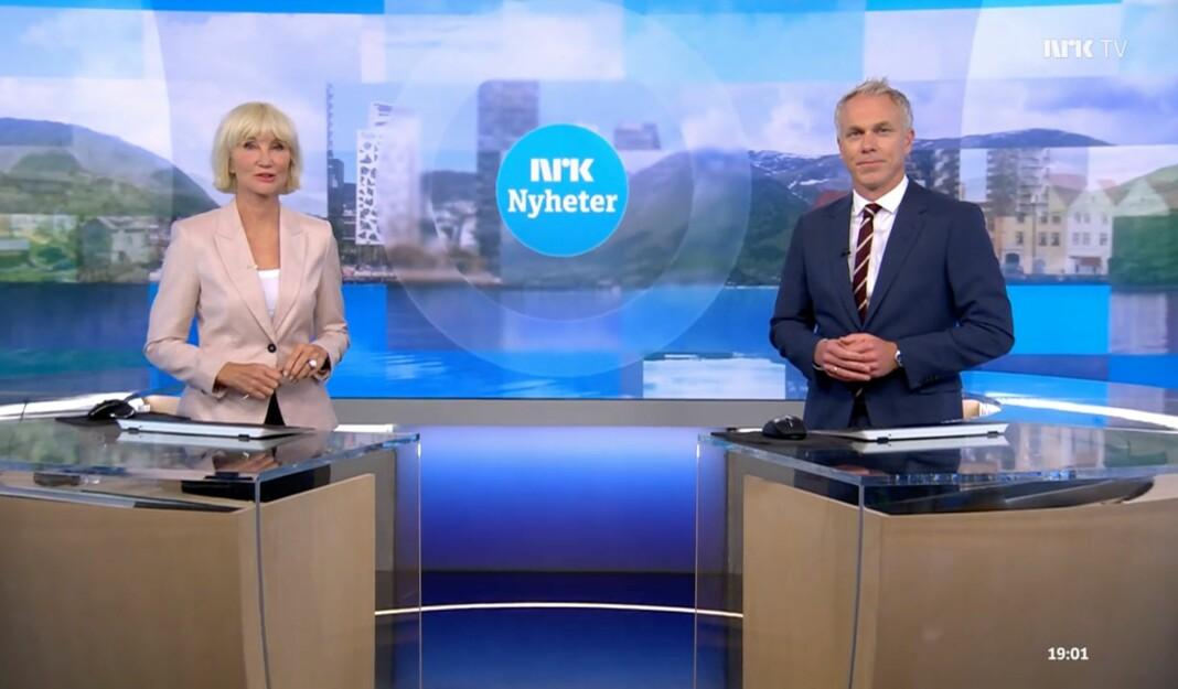 Nina Owing og Petter Oulie-Hauge ledet Dagsrevyen-sendingen 24. juni i år.