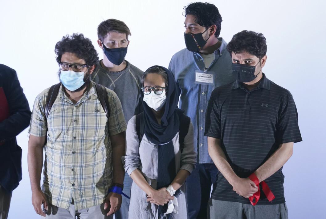 Afghanske evakuerte journalister fotografert under en velkomstseremoni i Mexico by 25. august.