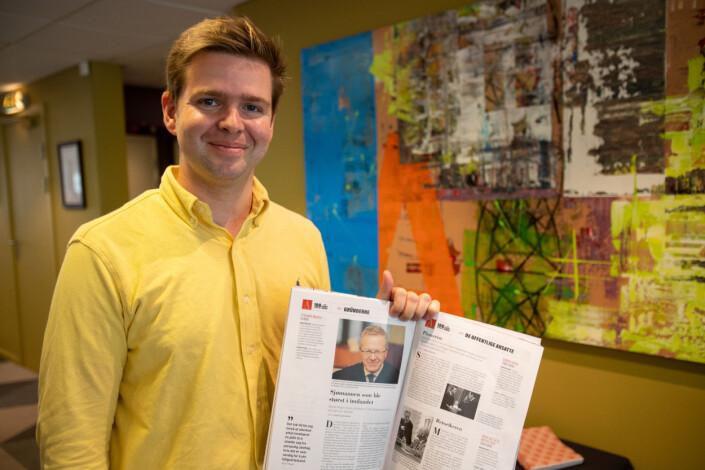 Journalisten Henrik Skjevestad tok bysykkelen og dro selv for å levere jubileumsbladet til noen av advokatene i utgaven. – Det er mange fine historier her. Noe av målet har vært å fortelle historien til personen bak advokatene. Vi merker at det er noe som settes pris på allerede, og vi håper leserne vil se hvor hardt vi har jobbet med prosjektet.