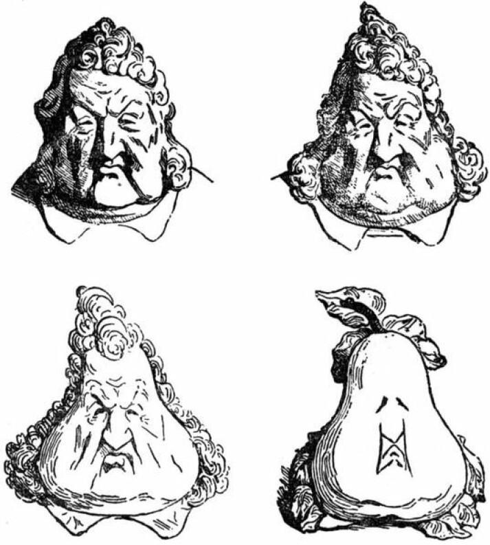 Fra konge til pære (1831). Den franske tegneren Honoré Daumier har tegnet en av verdens mest kjente satiretegninger. Der gjør han kong Ludvig Filip om til en pære i fire tegninger.
