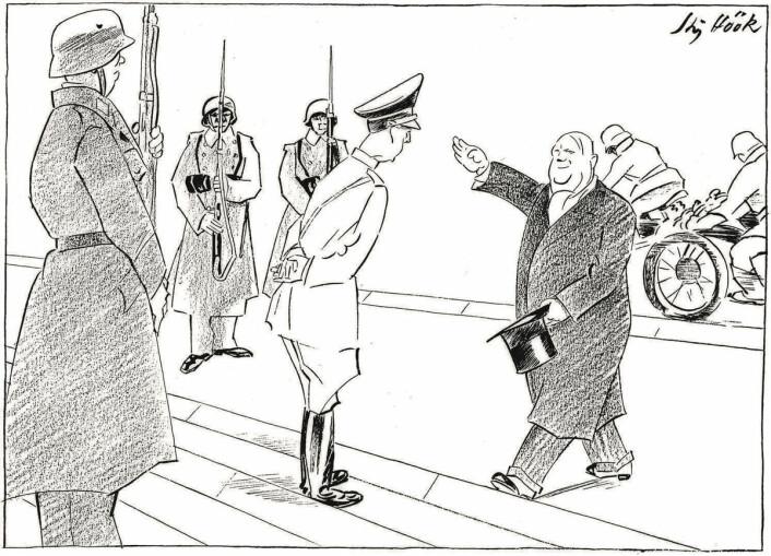 «I audiens hos Hitler. – Jeg er Quisling! – Og navnet?» (1944). Ragnvald Blix populariserte uttrykket «å være en quisling» med denne tegningen.