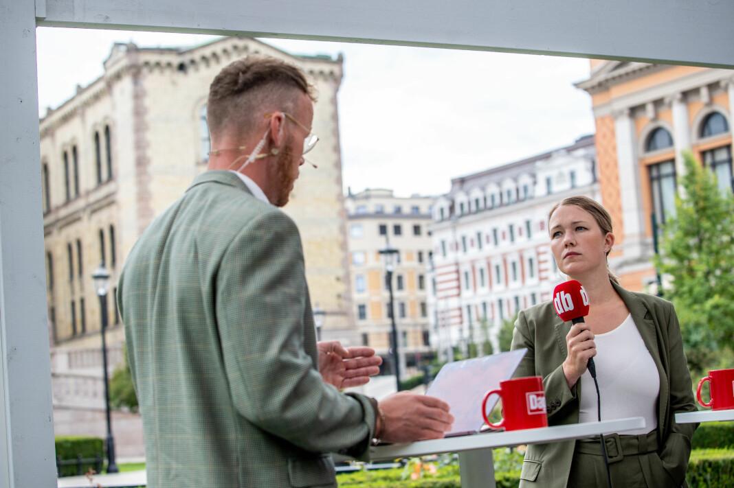 Une Bastholm fra MDG i klimaprat under Dagbladets direktesending av Valgboden med Steinar Suvatne som programleder.