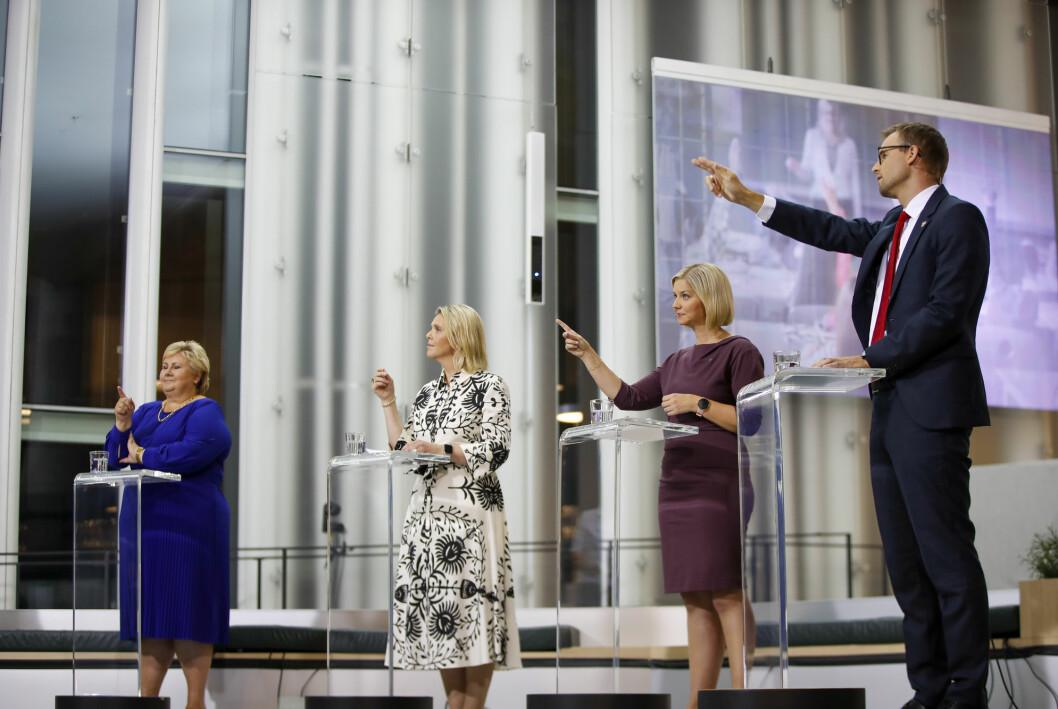 Partilederne Erna Solberg (H), Sylvi Listhaug (Frp), Guri Melby (V) og Kjell Ingolf Ropstad (KrF) under TV 2s partilederdebatt.