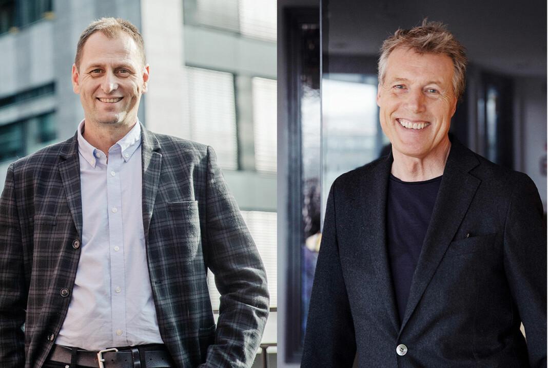 Frank Bratland og Dag Sørsdahl i Aller Media tror vil kombinere mobilabonnement med tilgang til pluss-løsningene til konsernets aviser og blader.