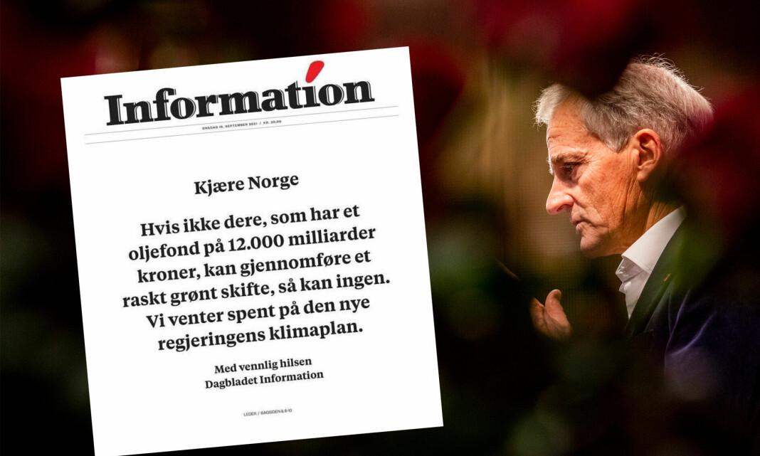 Dansk avis fyller forsiden med klar oppfordring til Støre