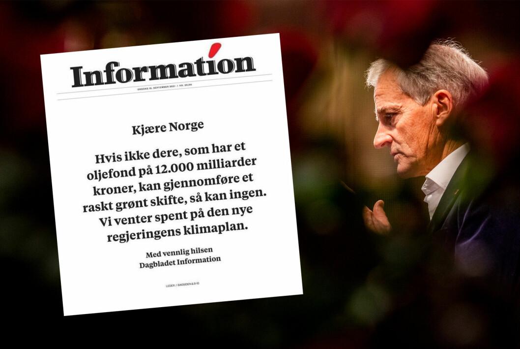 Budskapet på forsiden til den danske avisen Dagbladet Information i dag.