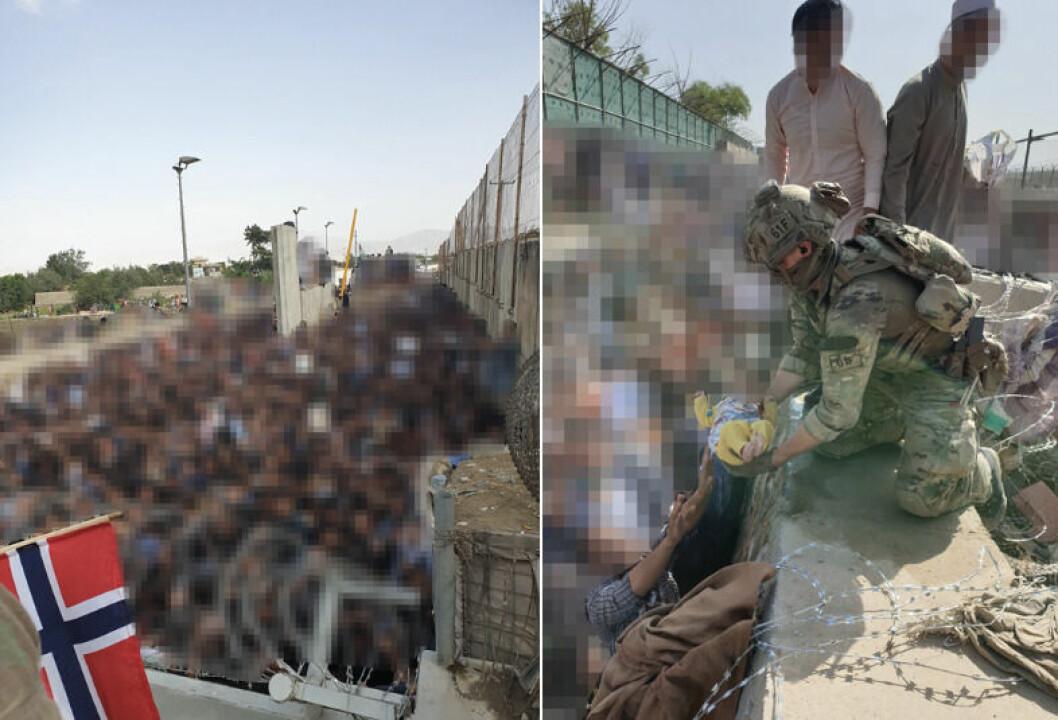 Tilsynelatende hundrevis av mennesker er sladdet på disse bildene fra Afghanistan.