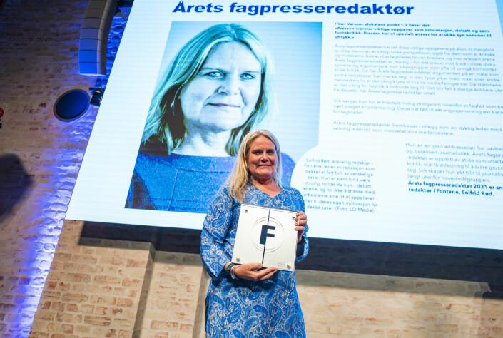 Solfrid Rød i Fontene er årets fagpresseredaktør 2021.