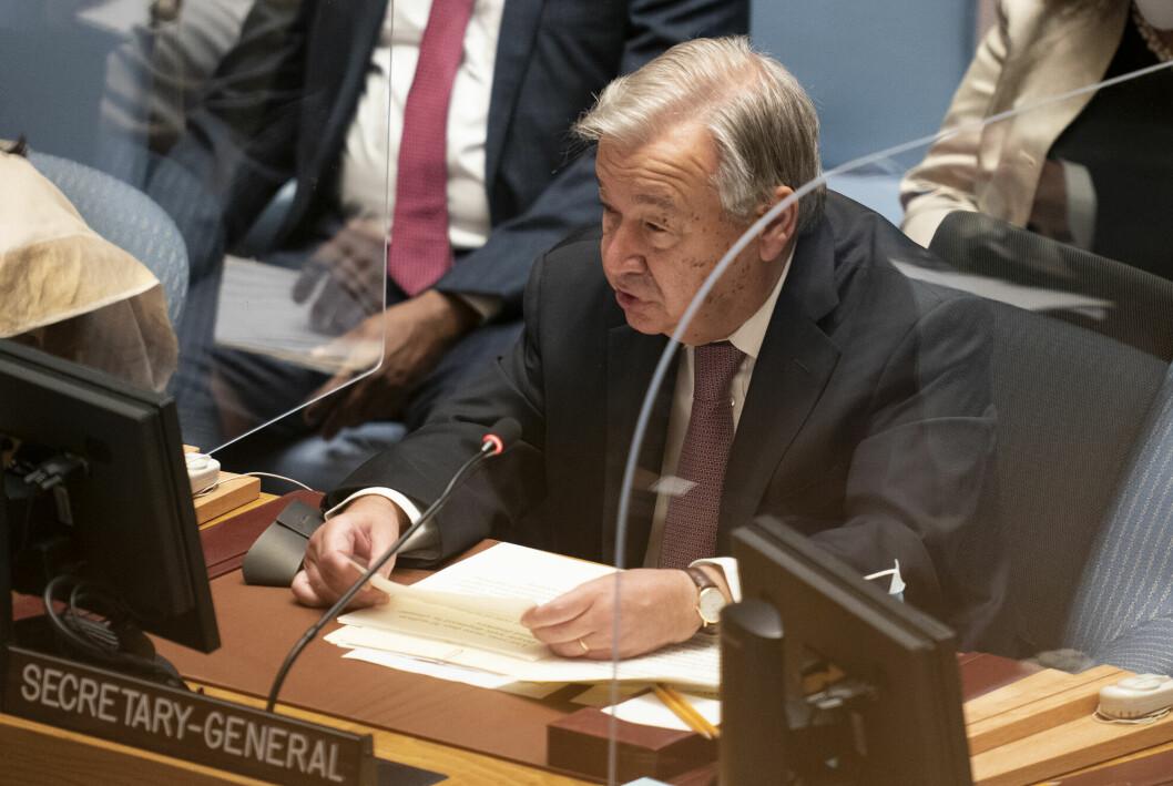FNs generalsekretær António Guterres gratulerer fredsprisvinnerne og ber verden sørge for at pressen kan utøve sin jobb på en trygg måte.